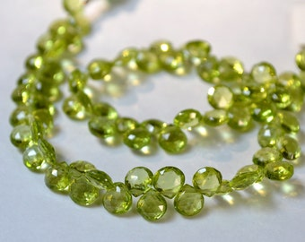 PERIDOT Gemstone Bead,  Faceted Heart Briolettes, 5.5mm. Semi Precious Gemstone. Pairs or Non Matching 1 to 9 Briolettes (fper)