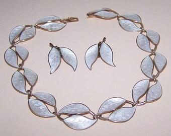 Sterling Silver Set, Sterling Silver & Enamel, Jewelry Set, STERLING SILVER, White Enamel, David-Andersen, Norway, Necklace, Earrings