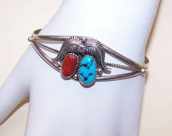 Vintage Cuff,Vintage Bracelet,Native American,Southwestern,STERLING SILVER,Sterling Cuff,Silver Cuff,Red Coral,Turquoise,Indian Cuff