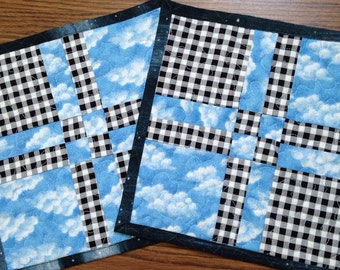 """Set of black gingham and blue sky mug rugs, coasters, 10""""x10"""", quilted place mats, quilted mug rugs, quilted coasters"""