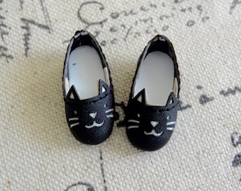 Blythe doll kitty cat shoes for Azone pure neemo body - BLACK