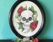 4x6 Skull Rose Print by Cora Rountree