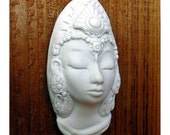 White Tara Ceramic Goddess Face, Kwan Yin, Quan Yin, Buddhist Lady Face, Tibetan Buddism Sculpture Art