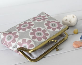 Purple Coin Purse in Daisy Daisy print coin money purse
