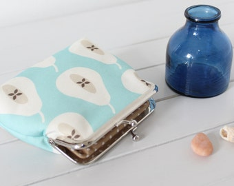 Pale Turquoise Blue Pear coin money purse