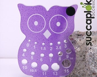 Imperial / Inch Paavo-puiccomitta-Knitting Needle gauge (US), Robust owl shaped knitting needle gauge for measuring US size needles