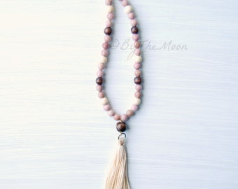 Long Beaded Necklace, Gemstone Necklace, Tassel Necklace, Gift for Her, Pink Necklace, Mother's Day Gift, Boho Necklace, Rhodonite Necklace