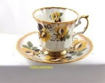 Tea Cup and Saucer Elizabethan Yellow Floral Pattern