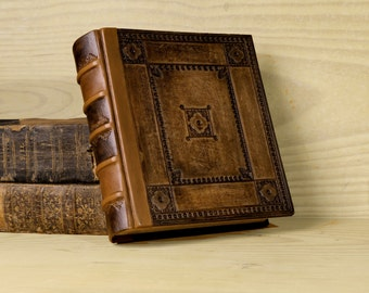 Tooled Leather Journal / Notebook, Brown Leather, Thick Journal - Journey through Time