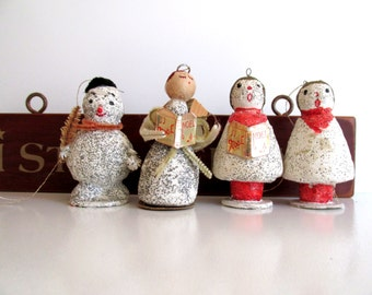 Vintage Paper Mache Christmas Ornaments Choir Angel Snowman Set of Four 1940's Holiday