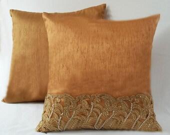 Bronze luxury pillow. Bronze decorative pillow cover. Bronze wedding decor. Bronze throw pillow cover.  18 inch