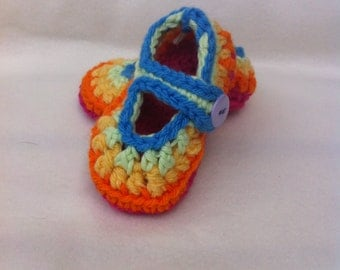 Rainbow baby girl maryjane booties