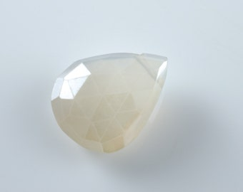 Pearl Faceted Chalcedony Teardrop Pear Briolette