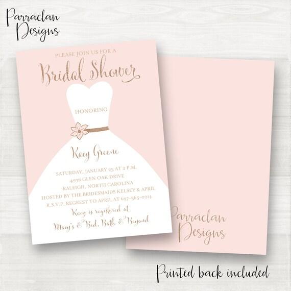 Pink Bridal Shower Invitation | Bridal Shower Invitation | Dress Bridal Shower Invitation | Rose Gold Glitter | Pink | Champagne | BS02