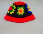 Vintage Crochet Hat Granny Square Colorful Bucket Style
