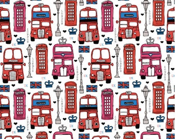 London Icon Bus Taxi And Telephone Booth Fabric By Little Smile Makers - London Bus Fabric with Spoonflower - By the yard