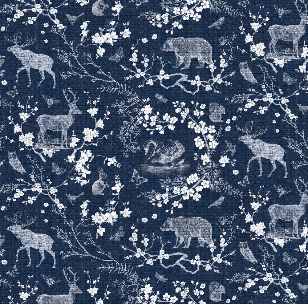 Toile Navy White Fabric By Nouveau Bohemian Woodland