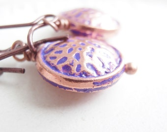 Hammered Copper Earrings Purple Jewelry