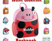 toddler backpack , toy bag , kids backpack , preschool backpack , stephen joseph backpack , personalized kids bag , MINI sidekick , LADYBUG
