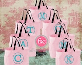 Set 7 bridesmaid tote bags , bridesmaid gifts , bachelorette party gift , monogrammed bridal party gift