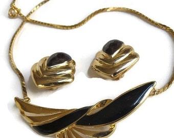 Vintage Black Enamel Choker Necklace and Earrings Demi Parure Set