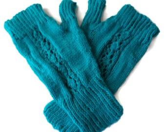 Mittens - Hand Knit Women's Blue Topaz Wool Fingerless Mittens