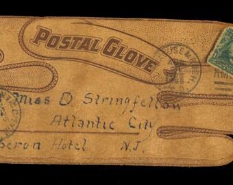 1905 Glove Shape Leather Postcard RPO Stamp Gloversville New York Post Office H4