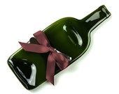 Melted Wine Bottle Cheese Plate with Plum Ribbon - Christmas Gift, Hostess, Wedding Present, Wine Accessories, Tabletop Seving