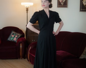 Vintage 1930s Dress - Gorgeous Black Rayon Crepe 30s Evening Gown with Puffed Sleeves and Pleated Detailing