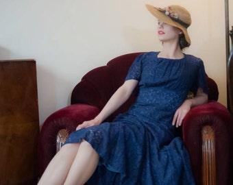 Vintage 1930s Dress - Lovely Deep Sapphire Blue Cotton Lace 30s Garden Party Gown