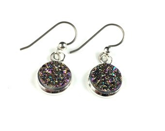 Rainbow Druzy Drusy Dangly Earrings in Silver Setting with Titanium Wires Hypoallergenic  Sensitive Ears Wedding Bridal Bridesmaid