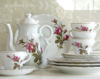 Vintage Moss Rose China Tea Set || Complete Service for 4 || Demitasse Tea Pot Tea Cups || Child Size Tea Set