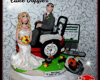 Lawn Mower Wedding Cake Topper