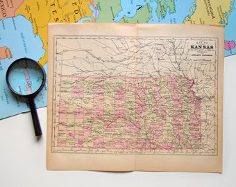 Vintage Victorian 1890 Map of Kansas Antique US Map Johnson's Cyclopaedia
