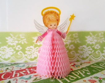 Vintage 1980 Christmas Decoration Angel Pink Beistle Honeycomb Table Centerpiece