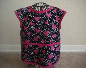 Toddler Pink Heart Art Smock or Apron with Berry Pink Bias trim. Size 4t-5t