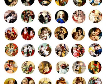 Brothers sisters victorian children digital download COLLAGE SHEET 1x1 inch circles image graphics printable art scrapbooking crafts