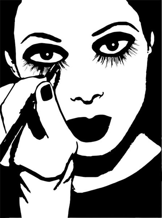 Makeup Clip Art: Mime Woman Putting On Makeup Clip Art Stamp Png File Digital