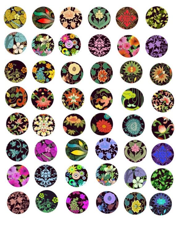 Art deco flowers Digital Collage Sheet 1 inch size Circle Images Printable Download art nouveau florals for pendants bottle-caps bezel trays