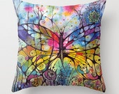 Butterfly with flowers, colorful pillow throw , cover for MaryLou