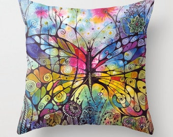 Butterfly with flowers, colorful pillow throw , cover