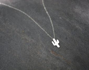 Cactus necklace, 925 sterling silver, plant necklace, delicate, tiny, succulent, desert, dainty necklace, boho // PETITE CACTUS NECKLACE