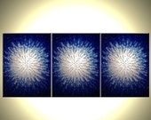 Abstact Blue Silver Textured ORIGINAL Art, Metallic PAINTING, by Dan Lafferty - 54x24 - Sale 22% Off