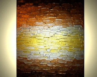 ORIGINAL Metallic Reflective Textured Abstract PAINTING Gold Bronze Impasto Palette Knife Art by Lafferty - 18x24, Free Shipping