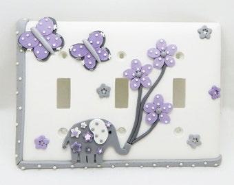 Elephant, Butterflies, Flowers Triple Light Switch Cover - Gray, Lavender, White - Elephant Nursery - Safari - Jungle - Toggle or Rocker