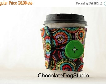 Winter Clearance Coffee cup sleeve, coffee cup cozy quilted fabric reuseable eco friendly: red green blue circles