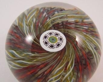 Vintage Perthshire Paperweight Millefiori Crown and Latticino Rod Swirls Made in Crieff Scotland Art Glass Paperweight Graduation Gift