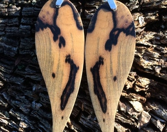 Super Amazing Angel Wing Wood Earrings Made Of Black And Whiter Ebony