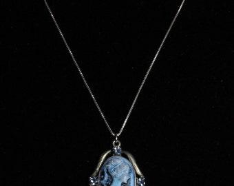 Large blue cameo pendant