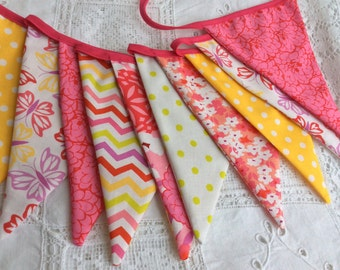 Girls Bunting in bright pink and yellow: great for girls birthday party or bedroom